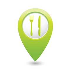 Knife and fork green map pointer vector