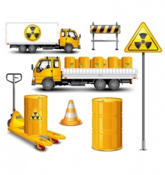 transport with radioactive waste vector image