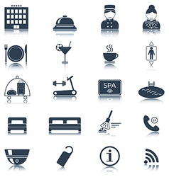 Hotel icons silhouette isolated vector
