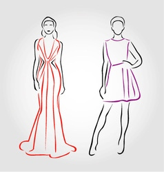 Models in designer outfits vector