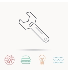 Wrench key icon repair tool sign vector
