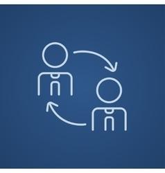Staff turnover line icon vector
