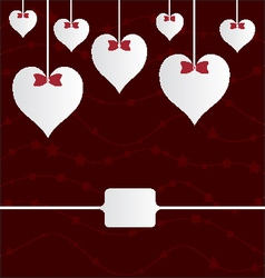 Valentine hearts with ribbons on red vector