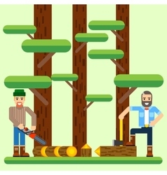 Lumberjack with axe and saw in the forest vector