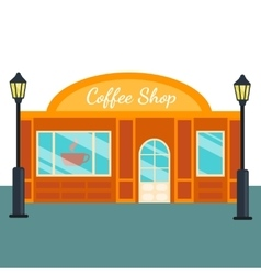 Caffee shops and stores front flat style vector
