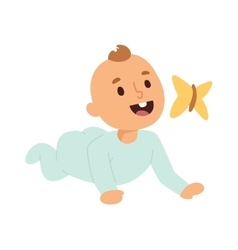 Baby kid and butterfly vector