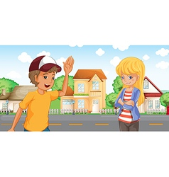 A boy and a girl talking across the neighborhood vector image vector image