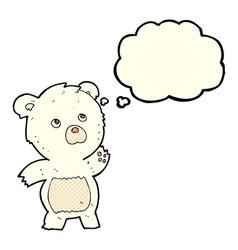 Cartoon curious polar bear with thought bubble vector