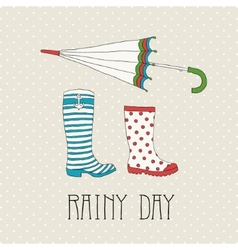 Colored rubber boots with umbrella vector image