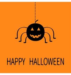 Cute cartoon black smiling pumpkin Hanging spider vector image