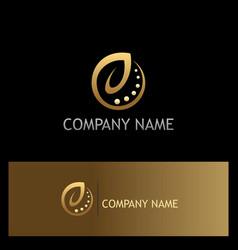 ecology leaf organic gold logo vector image vector image