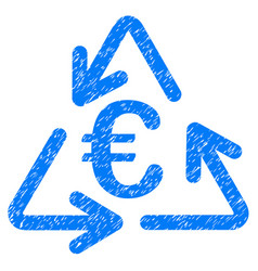 euro recycling icon grunge watermark vector image