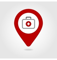 First aid kit map pin icon vector image