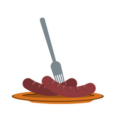 grilled sausage on plate with fork fast food vector image