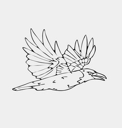 hand-drawn pencil graphics small bird vector image