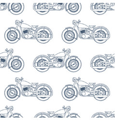 hand drawn vintage motorcycle seamless pattern vector image vector image