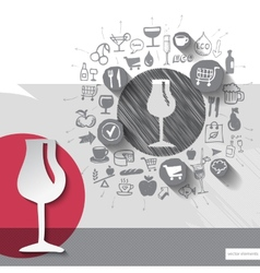 Hand drawn wine glass icons with food icons vector