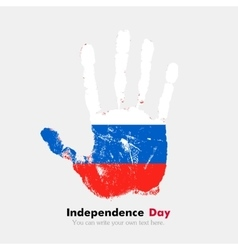Handprint with the russian flag in grunge style vector