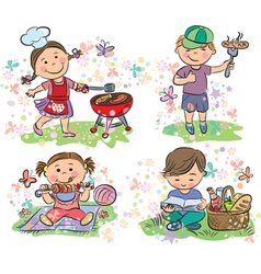 Kids on picnic with barbecue vector image vector image