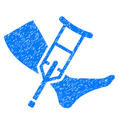 Leg and crutch grunge icon vector