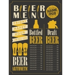 Menu for the beer pub vector