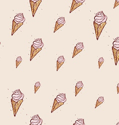 pink ice cream Hand drawn sketch on pink vector image