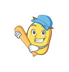 Playing baseball mango character cartoon mascot vector