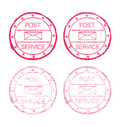 Post service red faded round stamp vector