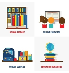 School Books Colorful Compositions vector image