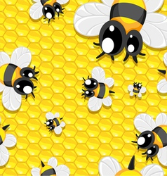 Seamless background with honey and baby bees vector