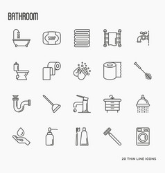 set of bathroom equipment thin line icons vector image vector image