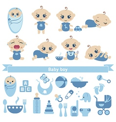 Set of cute baby boy vector