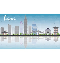 Taipei skyline with grey landmarks vector image