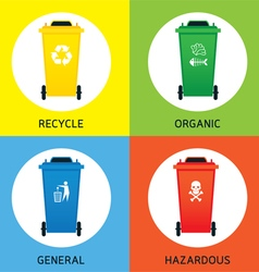 Waste or garbage bin separation types vector