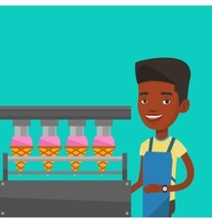 Worker of factory producing ice-cream vector