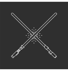 Two white swords on black background vector