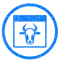 Cow page rounded grainy icon vector