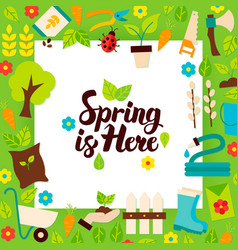 Spring is here paper template vector