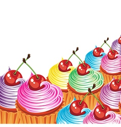 Cupcake cherry icing vector