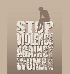 Stop violence against woman social concept vector