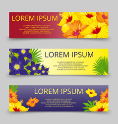 Tropical leaves and flowers banners template vector