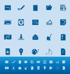 Writing related color icons on blue background vector