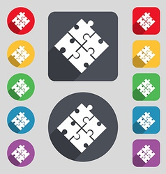 Puzzle piece icon sign a set of 12 colored buttons vector