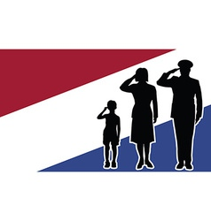 Netherlands soldier family salute vector