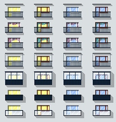 Set different types of balconies vector