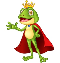 Cartoon adorable king frog waving hand vector