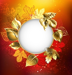 Autumn banner with golden leaves vector