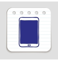 Doodle tablet pc icon vector