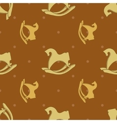 Seamless pattern with horse rocking toy vector
