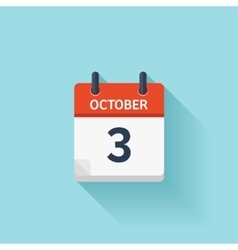 October 3 flat daily calendar icon date vector